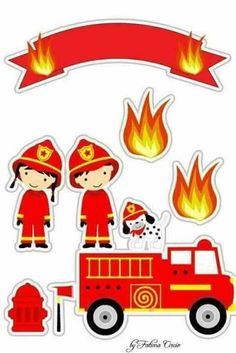 Kit para festa tema bombeiros Firefighter Birthday, Fireman Sam, Paper Toys, Fire Trucks, 4th Birthday, Preschool Activities, Birthday Decorations, Party Themes, Crafts For Kids