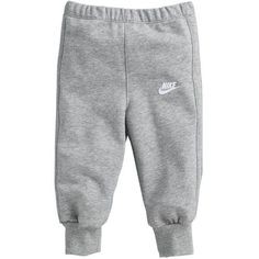 Nike Baby Fleeced Tracksuit Bottoms Grey ($22) ❤ liked on Polyvore featuring baby, baby boy, bottoms and pants
