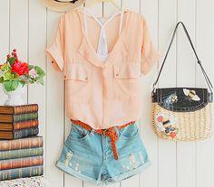 Summer Outfit #orange #shorts #denim #countrystile