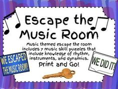 "In this ""Escape the Room"" themed packet you will find everything you need to set up an escape the music room experience for your students! There are 7 music knowledge based puzzles including rhythmic math, rhythm ordering, instrument ordering, dynamic ter Elementary Music Lessons, Singing Lessons, Piano Lessons, Singing Tips, Learn Singing, Elementary Schools, Escape Room, Music Activities, Music Games"