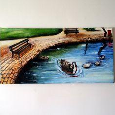 yağlı boya park göl ördek | oil painting pond ducks