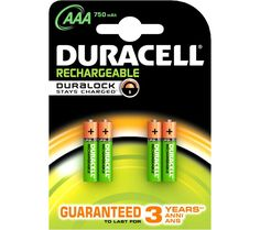 DURACELL  HR03/DC2400 AAA NiMH Rechargeable Batteries - 4 Battery Pack Price: £ 9.99 Charge your everyday electronic devices with the high performing Duracell HR03/DC2400 AAA NiMH Rechargeable Batteries. Charge and recharge Keep your power hungry devices charged at all times, when the power runs low just recharge them to full power again! The 4-pack of NiMH AAA batteries are also...