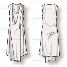 Women's Draped Asymmetrical Dress Fashion Flat Template