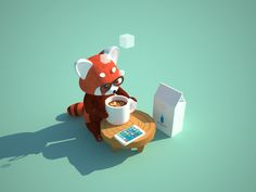 "jeffchangart: ""Hipster Red Panda enjoying his Blue Bottle coffee! "" All of my favorite things"