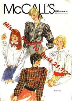 80s WOMEN'S BLOUSE Pattern    Vintage McCalls  by KeepsakesStudio, $4.99