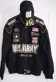 JH DESIGN Nascar Winston Cup Series US Army Men's Black Jacket Size Large w. Hat #JHDesigns