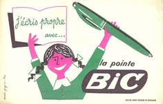 Vintage Bic advert print from Present & Correct, our favourite stationery store in the UK Vintage Advertisements, Vintage Ads, Vintage Images, Vintage Posters, Bic Pens, Blotting Paper, Stationery Store, Branding, Writing