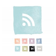 Watercolour Square Social Buttons | The Darling Tree