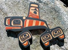 NW Coast First Nations Killer Whale Carving by Tlingit artist Victor Michael West, created from traditional red cedar.