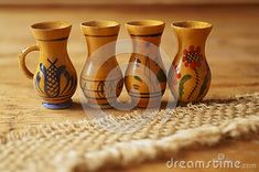 Background with wooden jugs with romanian pattern Vase, Pattern, Home Decor, Decoration Home, Room Decor, Patterns, Vases, Model, Home Interior Design