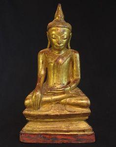 Goldplated 19th Century Antique Wooden Burmese Buddha