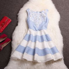 Embroidered Organza Striped Skirt Fashion Dress Mz4 (not with the red accessories)