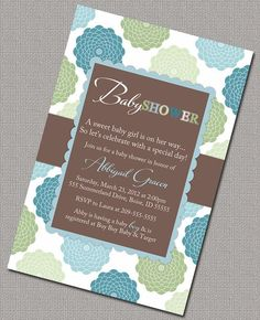 baby shower invitations | Baby Boy Shower Invitations, Blue, Green and Brown Floral Baby Shower ...
