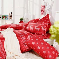 Cozy christmas bedding .. Don't wake me up :)