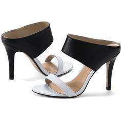 Lands' End Women's Slide Heeled Sandals ($145) ❤ liked on Polyvore featuring shoes, sandals, lands end shoes, lands' end, lands end sandals and heeled sandals