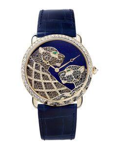 Ronde Louis Cartier XL Filigrana com Panteras Audemars Piguet, Patek Philippe, Datejust Rolex, Cartier Panthere, Chanel, Beautiful Watches, Bling Jewelry, Jewlery, Gold Jewellery