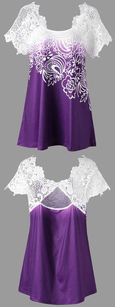 Plus Size Raglan Sleeve Lace Panel Floral Top Floral Tops, Floral Blouse, Vestidos Color Rosa, Modelos Plus Size, Plus Size Kleidung, Pretty Shirts, Plus Size Tops, Pretty Outfits, Blouse Designs