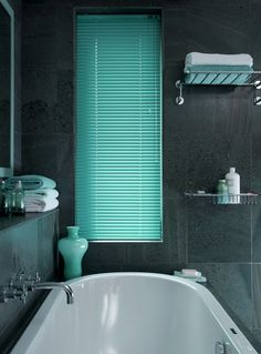 Metallic 25 Electric Aqua Venetian Blind from www.directblinds.co.uk. The perfect accessory to spruce up your bathroom!