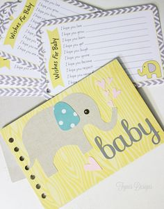 This sweet DIY baby wishes album makes a perfect baby shower activity and gift. Baby elephant baby wishes album.