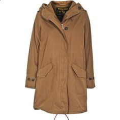 WOOLRICH Ws PRESCOTT PARKA Brown Oversize parka ($310) ❤ liked on Polyvore featuring outerwear, coats, jackets, coats  jackets, tops, water resistant coat, leather parka, oversized hooded coat, brown coat and woolrich coats