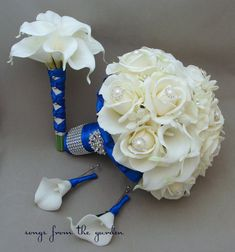 Bridal Bouquet Stephanotis Roses Calla Lily Royal Blue Bridesmaid Bouquet Groom's Groomsmen Boutonniere Real Touch Bouquet Choose Your Color on Etsy, $245.00