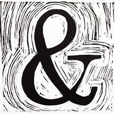 ampersand: linocut on Stonehenge papers