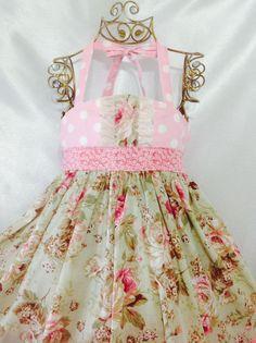 I love love this!!  Girl Dress Size 5; Sweet Ellie Halter; Handmade; Everyday Use; 100 % Cotton #Handmade #DressyEverydayHoliday