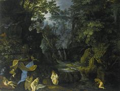 A Forest Landscape with Bathing Nymphs and Leda and the Swan, Roelandt Savery