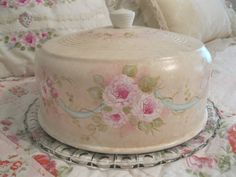 Hand painted cake cover and plate - on ebay - http://www.ebay.com/itm/390781819581?ssPageName=STRK:MESELX:IT&_trksid=p3984.m1555.l2649