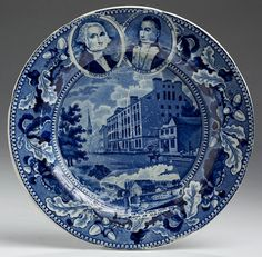 Northeast Auctions 8/20/16 Lot: 13.  Estimate: $1,500 - 2,500. Realized: $1,800 (1,500).   Description: 'TWO MEDALLIONS- PRESIDENT WASHINGTON' AND 'WELCOME LA FAYETTE THE NATIONS GUEST,' 'ENTRANCE OF THE ERIE CANAL INTO THE HUDSON AT ALBANY' AND 'NEW YORK CITY HOTEL: ACORN AND OAK LEAF BORDER,' STAFFORDSHIRE DARK BLUE TRANSFER-PRINTED PLATE, Diameter 8 1/2 inches. Scratches.  Provenance: William & Teresa Kurau Antiques, Lampeter, Pennsylvania, November 25, 1996.