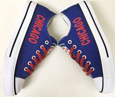 Custom CHICAGO CUBS Womens & Mens Low Tops Canvas Tennis Shoes