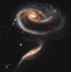 """Arp 273"""" two galaxies in the early stages of collision."""