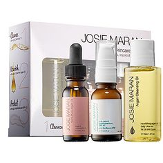 Great small kit to sample. The oil cleanser is gentle, helps remove makeup. The moisturizer is good for winter and has a high sod. I love the oil. Josie Maran - Argan Skincare Ritual Set -  #sephora