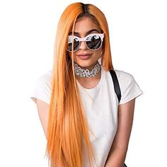 SiYi Fashion Young Gril Star wigs 27inch Long Straight Hairstyle Wig with Parting Bangs for women - Black Ombre Orange
