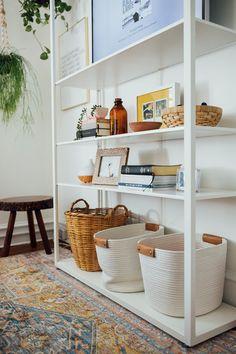 Our Anniversary Bedroom Makeover! — walk in love. Ikea White Shelves, White Bookshelves, Bookcases, Target Pillows, Basement Shelving, Walk In Love, Ikea Living Room, Ikea Kids, Dream Furniture