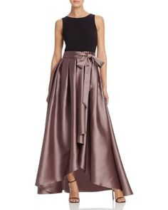 Dylan Gray Mixed Media High/Low Gown | Bloomingdale's