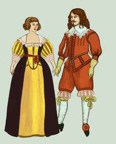 1630 Baroque fashion for man and woman.  Woman's silhoutte is soft and curvy, sleeves are full and the waistline rises.  Also, for he first time since the ancient Rome, women show their lower arms! by Tadarida.deviantart.com on @DeviantArt