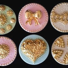 Gold embossed beautiful cookies/cupcakes. love the color combinations, especially the sage and gold.