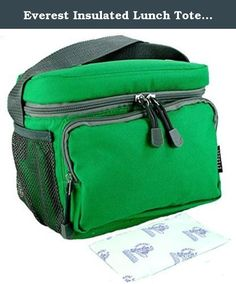 Everest Insulated Lunch Tote Cooler Bag with 8 oz Freezer Ice Pack. Reusable for Kids, Teens, and Adults. (EMERALD GREEN). Our reusable Freezer Packs stay cold three times as long as regular ice, are more compact, and make no watery mess. The packs are Made in USA and contain a Food Grade gel. Order extras and keep in the freezer to be ready at a moment's notice. 8 oz. Freezer Packs are 6x3 1/2x3/4'. Bundle of 2 items. Everest Lunch Bag (Made in China) CB6BLK and Nordic Ice8 Freezer Pack...
