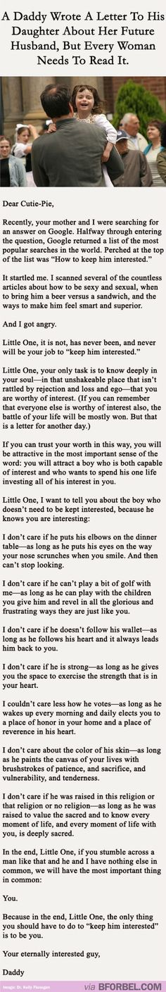This Father Wrote A Letter To His Daughter About Her Future Husband…every little girl needs to know this, omg soo beautiful