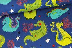 Stoff - baby dragon - Blau auf alles-fuer-selbermacher.de
