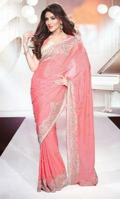 Rose Pink Saree with Blouse