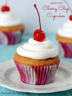 Gluten Free Cherry Chip Cupcakes - Faithfully Gluten Free