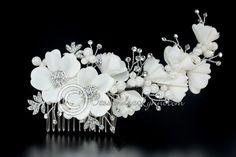 Bridal Comb with Satin Flowers Rhinestones & Fabric Pearls