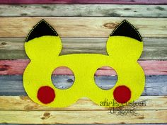 Pokemon Pikachu Yellow Battle Mouse - Felt Dress Up Mask by ArielsCustomDesigns on Etsy