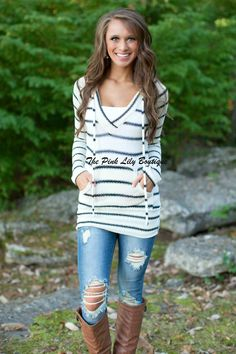 The Pink Lily Boutique - Forever Fall Stripe Hoodie , $37.00 (http://thepinklilyboutique.com/forever-fall-stripe-hoodie/)