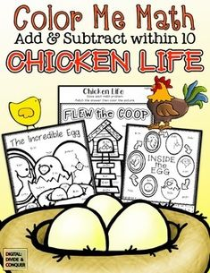 Color Me Math:  Chicken Life.  Add and subtract within 10 featuring Chickens! ($2)