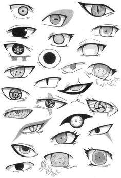 Eyes of characters from Naruto Shippuden.