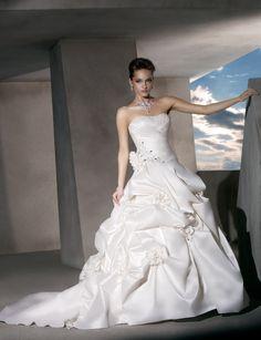 Strapless dropped waist A-line taffeta wedding dress