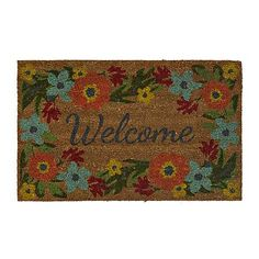 Greet your guests in floral flair with our Floral Border Welcome Mat. Bright pops of color make this a lovely outdoor accent piece. Welcome Mats, Floral Border, Accent Pieces, Habitats, Color Pop, Floral Design, How To Make, Crafts, Small Space